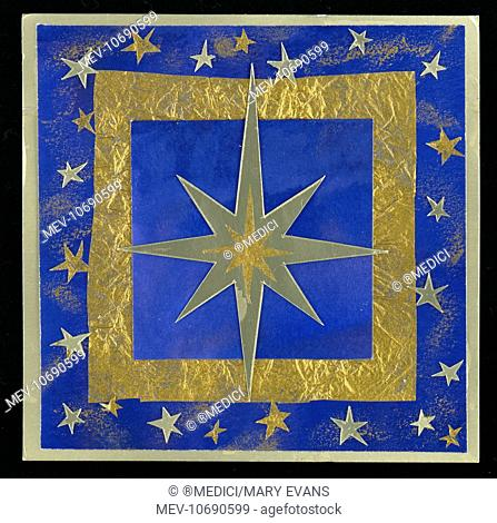 Gold Star û square design of gold star on a blue and gold background surrounded by smaller stars