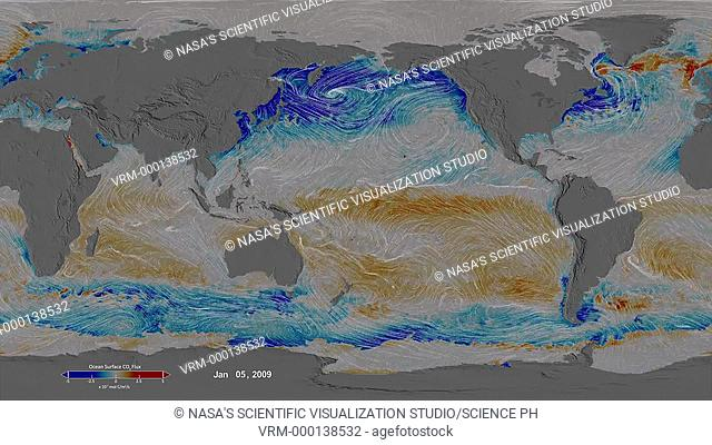 Ocean surface CO2 and winds. Animated global map, centred on the Pacific Ocean, showing the ocean surface carbon dioxide (CO2) flux in 2009 and 2010