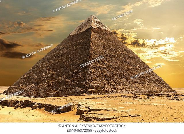 The Pyramid of Khafre at sunrise in Giza, Egypt