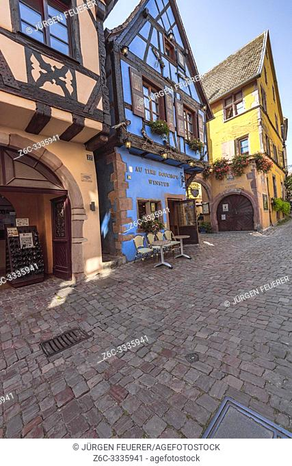 old colorful timbered house in the village Riquewihr, Alsace, France, house of the cork