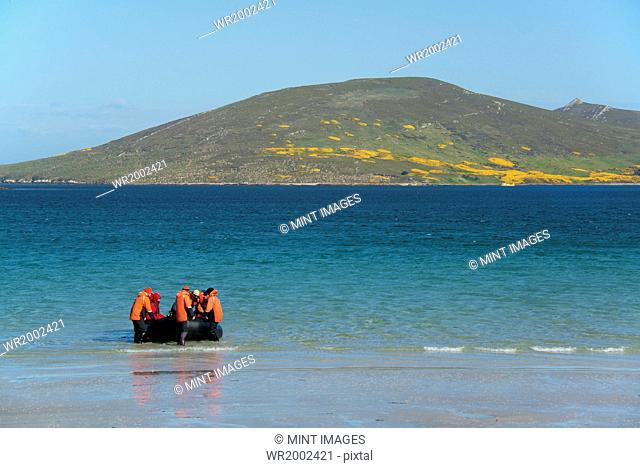 A group of people in a rubber boat landing on a beach on the Falkland Islands