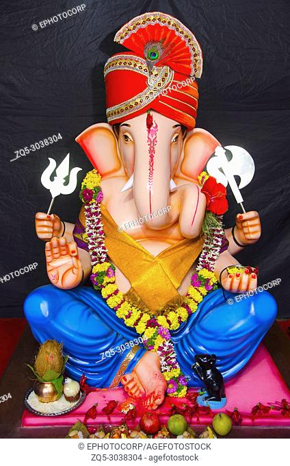An idol of Lord Ganesha, Ganapati Festival, Pune, Maharashtra, India