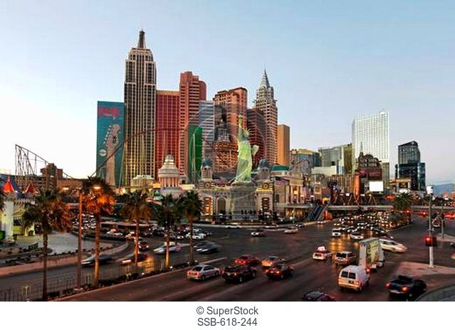 Hotel in a city, Tropicana Avenue, Nevada State Route 604, Las Vegas, Nevada, USA