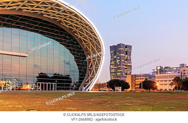 Kaohsiung, Taiwan. The newly opened Kaohsiung Exhibition Center and the China Steel Corporation Headquarters on the right side