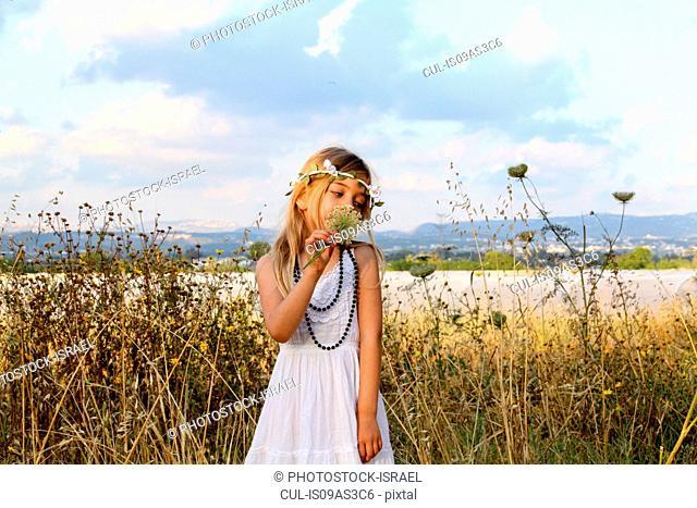 Young girl celebrating spring harvest festival, Israel