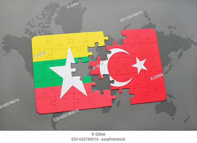 puzzle with the national flag of myanmar and turkey on a world map background. 3D illustration