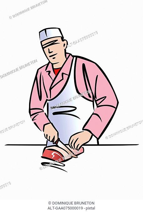 Illustration of a butcher
