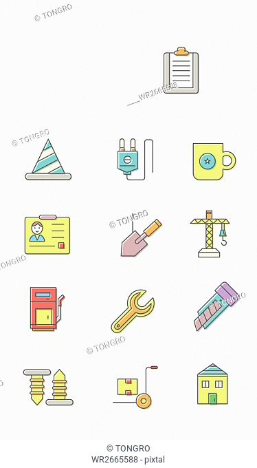 Set of various line icons