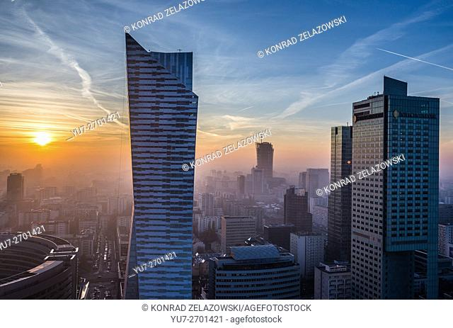 Sunset over Warsaw, Poland. Aerial view with Zlota 44 skyscraper, Warsaw Towers and InterContinental Hotel