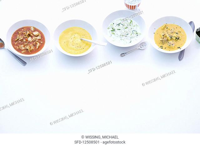 Cabbage soup; carrot and kohlrabi soup; leek and coconut soup, and fish soup with coalfish fillet and turmeric