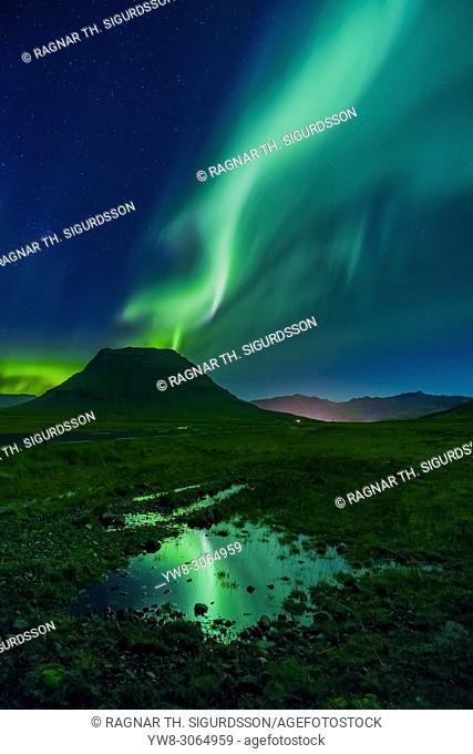 Aurora Borealis, Mt. Kirkjufell, Grundarfjordur, Iceland