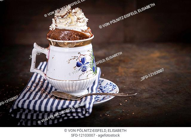 Mug cake with whipped cream