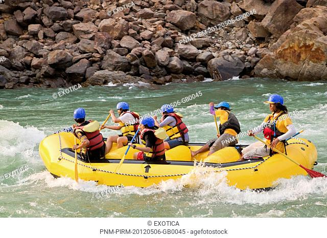 Tourists enjoying whitewater rafting in River Ganges, Rishikesh, Dehradun District, Uttarakhand, India