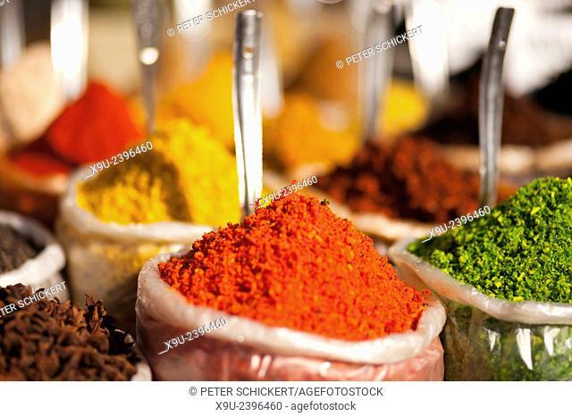 colourful spices, Anjuna market, Anjuna, Goa, India, Asia