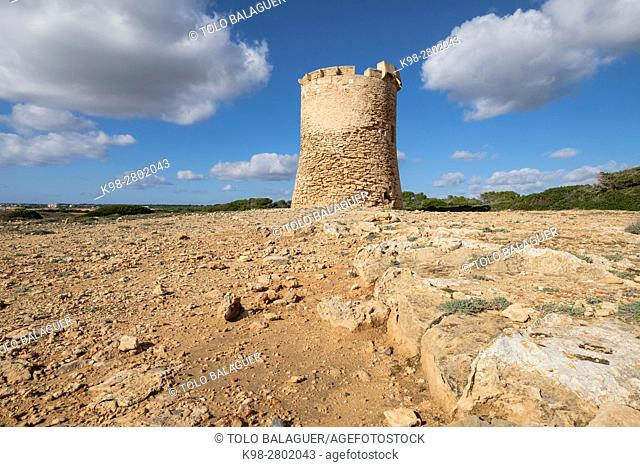 Watchtower of S Estalella, year 1577, S'Estalella,Llucmajor, Mallorca,, balearic islands, spain, europe
