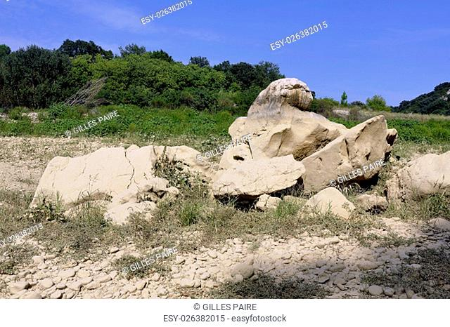 The bed of the river Gardon completely dry during the summer in the French department of Gard in the south-east