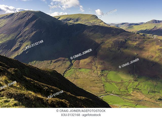 Hindscarth and Robinson fells from Maiden Moor in the Lake District National Park, Cumbria, England