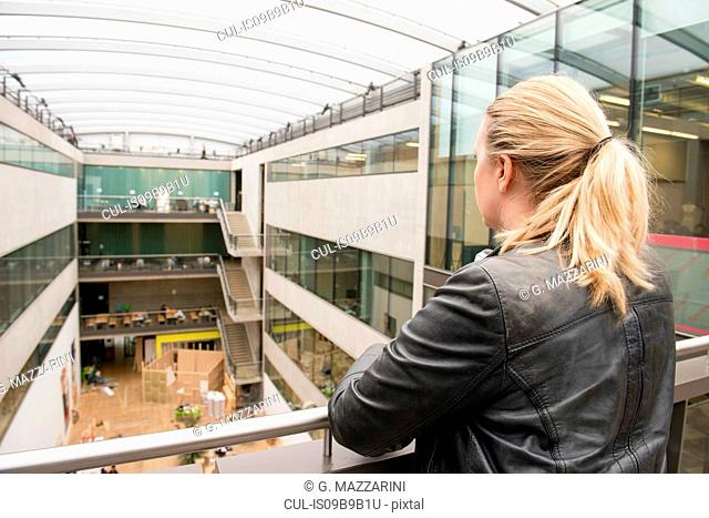 Rear view of woman on mezzanine of office building