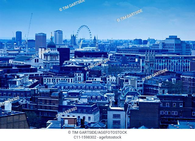 aerial view of city of london from barbican looking to spitalfields market and london eye