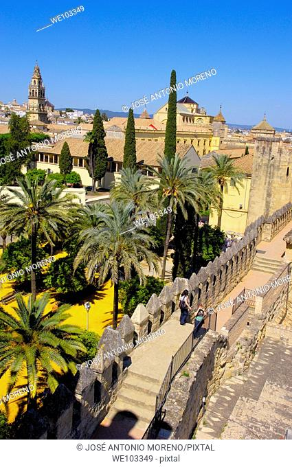 Alcazar de los Reyes Cristianos (Alcazar of the Christian Monarchs) and minaret tower of the Great Mosque, Cordoba, Andalusia, Spain