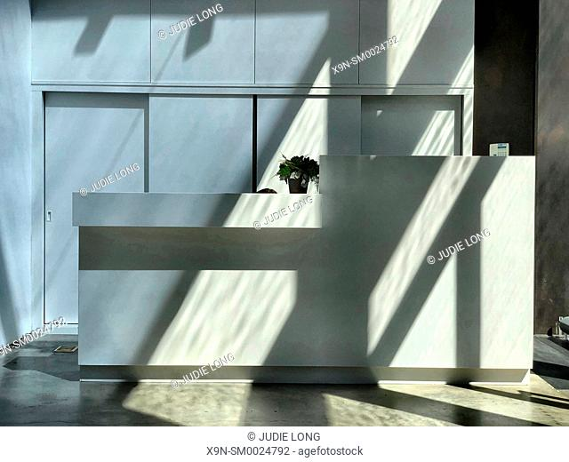 Late Day Sun Reflections and Shadows, Casting Light on the Reception Desk of a Manhattan Retail Establishment
