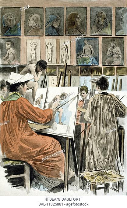 Painters' studio, 1894, a painting by Pierre Vidal (1849-1929), engraving by Frederic Masse, from La Femme a Paris, nos contemporaines