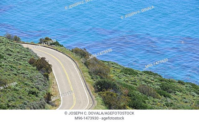 Winding road by ocean, Malibu, California, USA