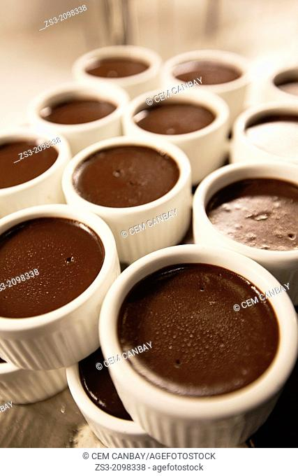 Chocolate pudding in cups at the pastry shop, Taksim, Istanbul, Marmara Province, Turkey, Europe