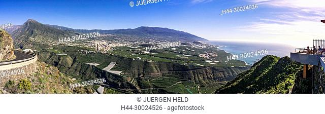 Panoramic view from viewpoint Mirador el Time, La Palma, Canary Islands, Spain