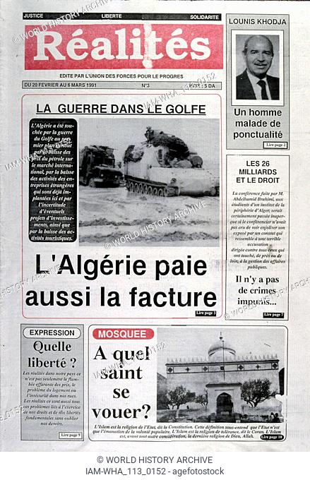 Headline in 'Realites' a French newspaper, 6th March 1991, concerning the impact on Algeria, of the Gulf War (2 August 1990 - 28 February 1991)