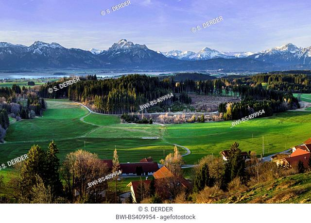 view from Zwieselberg to Forggensee lake and Tannheim Mountains, Germany, Bavaria, Oberbayern, Upper Bavaria, Allgaeu