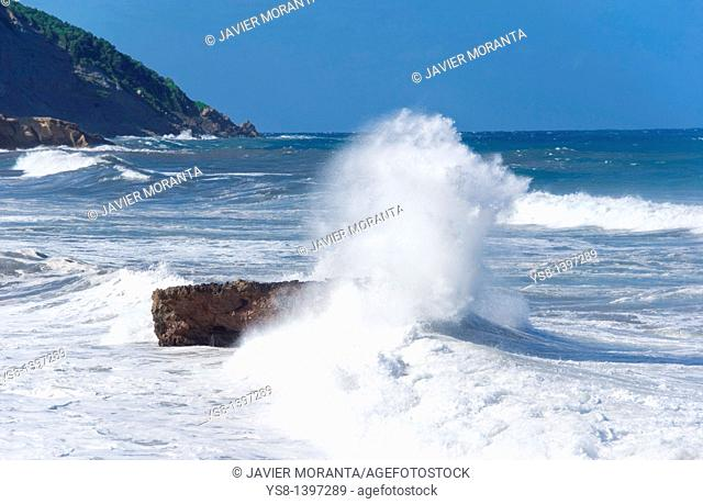 Spain, Balearic Islands, Mallorca, Mediterranean, Impact of waves on a rock