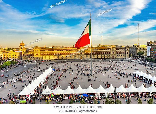 Presidential Palace Zocalo, Flag Christmas Mexico City Mexico Zocalo