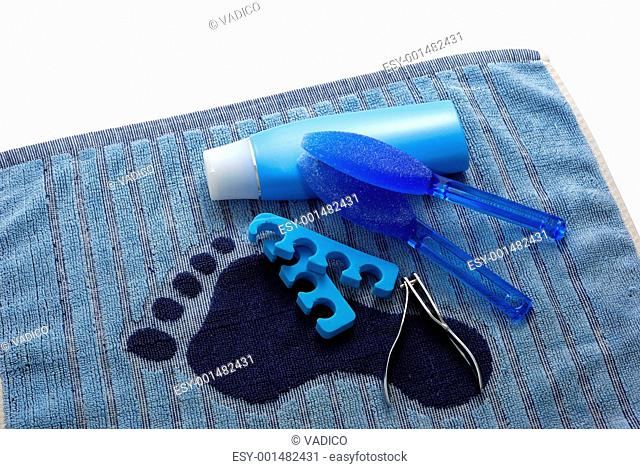Blue foot SPA on towel with footprint