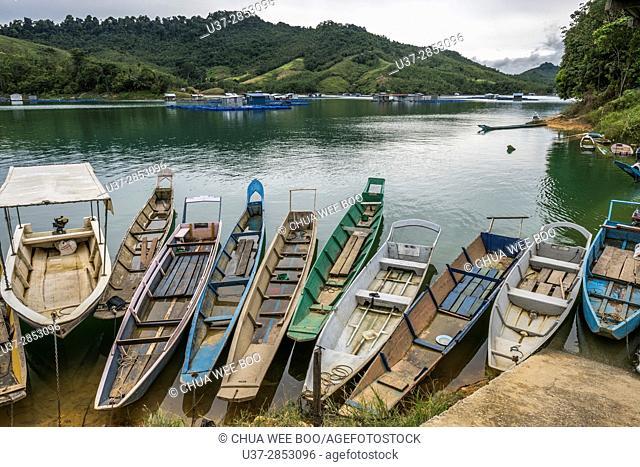 Long boats. Batang Ai, Sarawak, Malaysia