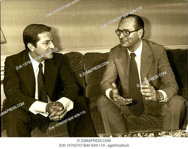 Jul. 07, 1976 - Making a brief trip to Paris, Adolfo Suarez, the new head of the Spanish government, met with Jacques Chirac at the Matignon Hotel this morning