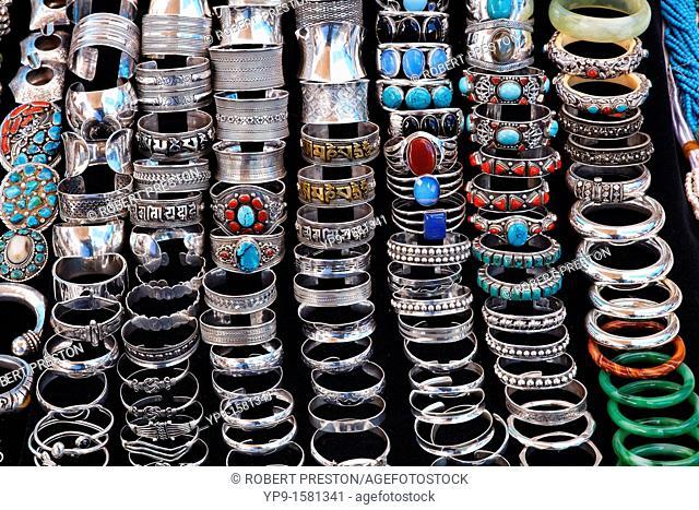 Display of jewellery on a market stall, Anjuna Market, Goa, India