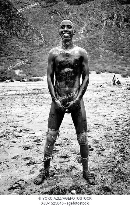 Salt extraction in the El Sod crater, Ethiopia