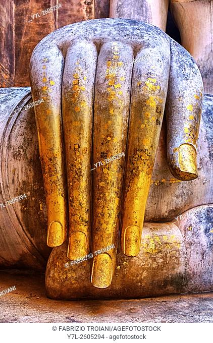 Detail of the hand of Phra Acana in Wat Si Chum, Sukhothai, Thailand