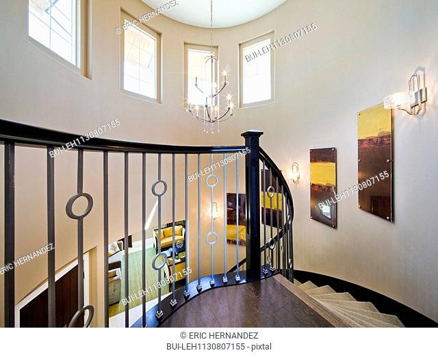 Spiral staircase in house; Valencia; California; USA