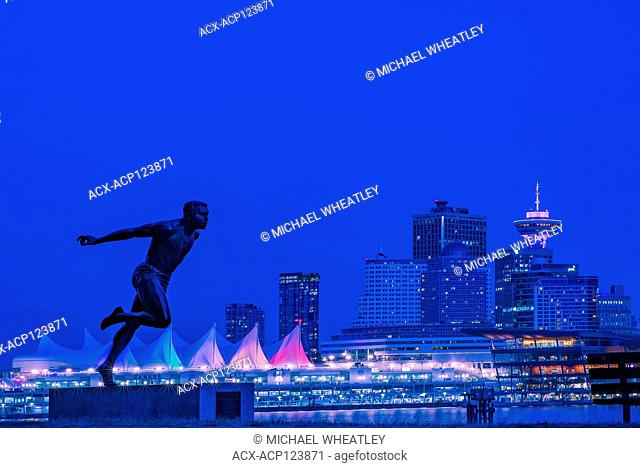 Harry Jerome statue and downtown Vancouver skyline, Vancouver, British Columbia, Canada