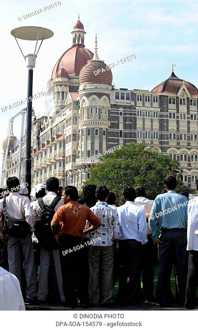 Crowd outside the Taj Mahal hotel ; after terrorist attack by Deccan Mujahedeen on 26th November 2008 in Bombay Mumbai ; Maharashtra ; India