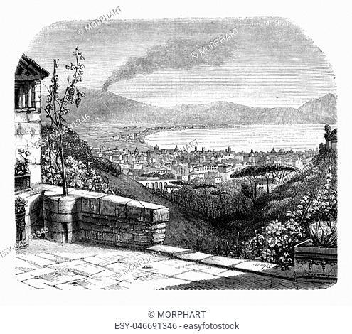 Naples, vintage engraved illustration. Magasin Pittoresque 1846