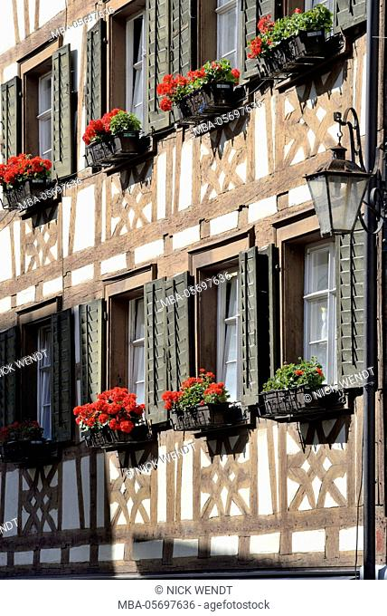 Meersburg in Lake of Constance, half-timbered facade in the Old Town