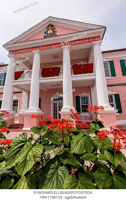 Pink Senate Building in Parliament Square decorated for the Queen's 60th Jubilee in Nassau , Bahamas
