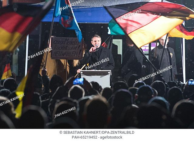 The chairman of the regional AfD fraction in Thuringia, Bjoern Hoecke, speaks during an AfD (Alternative fuer Deutschland - Alternative for Germany) rally on...
