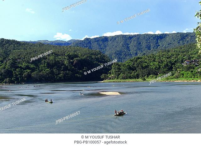 The Mari River in Jaflong, Sylhet, Bangladesh The river coming from the Himalayas of India brings millions of tons of stone boulders with its current Stones and...