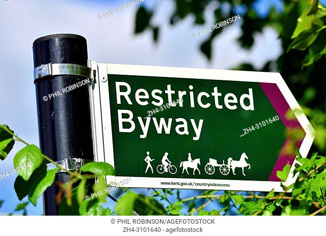 Restricted Byway sign in the countryside around Boughton Monchelsea village, Kent, England