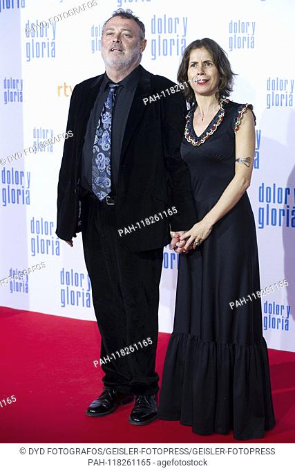 Pablo Carbonell with wife Maria Arellano at the premiere of the movie 'Dolor y gloria / Pain & Glory' at the Cine Capitol. Madrid, 13.03