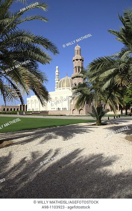 exterior view of Grand Mosque Sultan Qaboos, Muscat, Sultanat of Oman, Asia